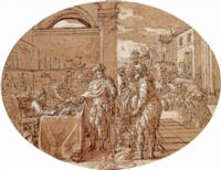 tithes being presented at the temple by pierre monier