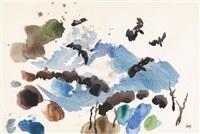 krähe über einer herbstlandschaft by gustav hessing