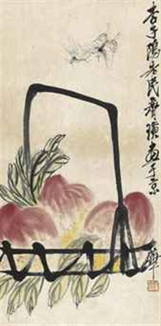 peaches and butterflies by qi baishi