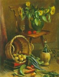 stilleben mit gemüse, wein und sonnenblumen by alfred anklin