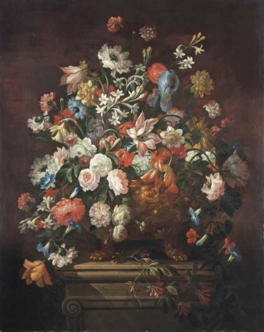 tulips chrysanthemums violets and other flowers in a sculpted bronze urn on a stone pedestal by abraham brueghel
