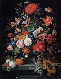 tulips, roses, carnations and other flowers in a glass vase with raspberries, an orange, berries, a skull, an hourglass with snails and butterflies on a stone pedestal by abraham mignon