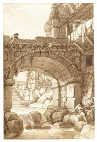 capriccio with a bridge over a river with figures and a fisherman by antonio zucchi