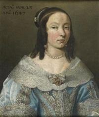 portrait de jeune femme en robe bleue by le nain brothers