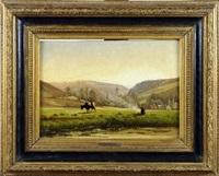 paysage avec vache et fermière by félix de baerdemaeker