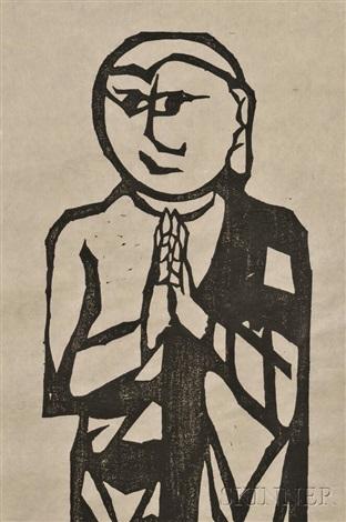 untitled from the series the ten disciples of shakyamuni by shiko munakata