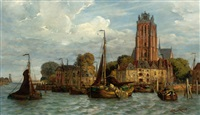 view of dordrecht seen from the water with the grote kerk in the background by fedor poppe