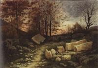 rocheurs dans la forêt au crépuscule by horace-antoine fonville