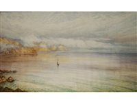 a guernsey coastline with a single sailboat by william john caparne