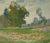 eucalyptus and green fields by paul lauritz