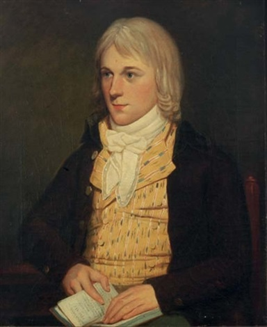 portrait of a gentleman seated in a yellow vest and brown coat holding a book of poetry by david allan