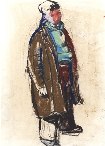 boy in overcoat by joan kathleen harding eardley