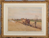 amid the furrows - a ploughman and team by john atkinson
