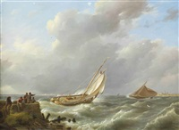 a sailing boat on choppy waters, muiden in the distance by johannes hermanus koekkoek