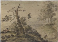 hilly landscape with a figure resting by hendrick van der straaten