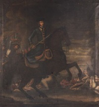 an equestrian portrait of king karl xii of sweden on a battlefield by david von kafft