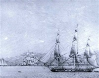 h.m.s. esk entering port royal harbour, jamaica by george gustavus lennock