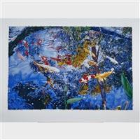 pond with goldfish by joseph raffael