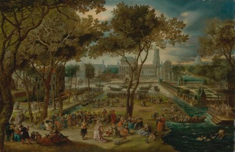 an elaborate fête on the grounds of a château by david vinckboons