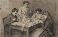 femmes autour d'une table by maurice renders