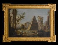 a capriccio of classical roman ruins by francesco battaglioli