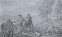 reitergesellschaft mit ihren hunden, weiter blick in die hügelige landschaft by dirk maes