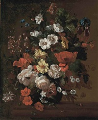 roses, poppies, stras, an iris and other flowers in a glass vase, on a stone ledge, with snails and ants by philips van kouwenberg