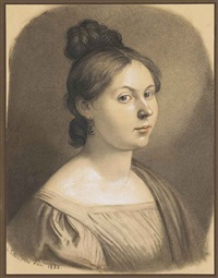 portrait of a lady, bust-length, turned to the right by gottfried (johann gottfried) schadow