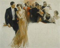 couple stepping away from crowded dance floor by walter g. ratterman