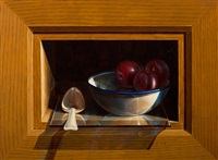 still life with plums in an enamelled bowl and spoon in a cabinet (trompe-l'oeil) by henri bol