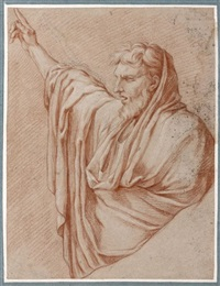 figure drapée en buste, le bras droit levé (sketch after le sueur) by gérard audran