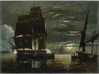 riff pirates attacking a spanish ship by night in a calm by richard principal leitch