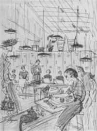 drawing class, art students league by dagmar freuchen