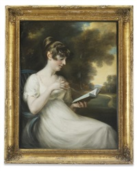 portrait of a young lady, reading a novel, a landscape beyond by john russell