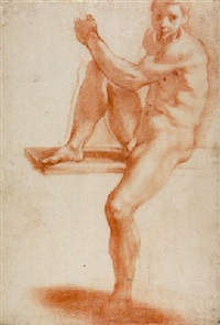a young man seated on a ledge holding a staff by alessandro tiarini