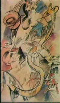 schlangenbeschworer (zwei akte mit katze und schlange) by bernard buffet