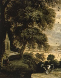 a wooded landscape with cattle on a track and a maid outside a chapel by kerstiaen koninck