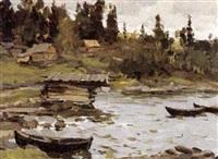 petit port de pêche by aleksandr andreievich gusarevich