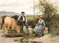 bergère et berger au puits by edouard bernard debat-ponsan