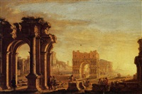 a capriccio of a mediterranean port with figures amongst classical ruins by alessandro salucci