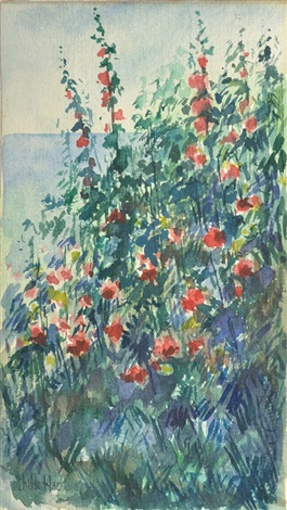 hollyhocks by childe hassam
