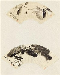 墨荷 柑橘天牛 (2 works) by various chinese artists