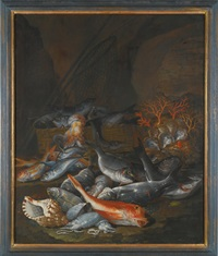 still life of assorted fish, shellfish and coral with a net and basket by francesco della questa
