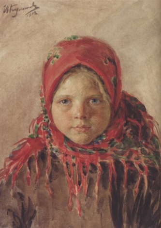 russian peasant girl by ivan semionovich kulikov