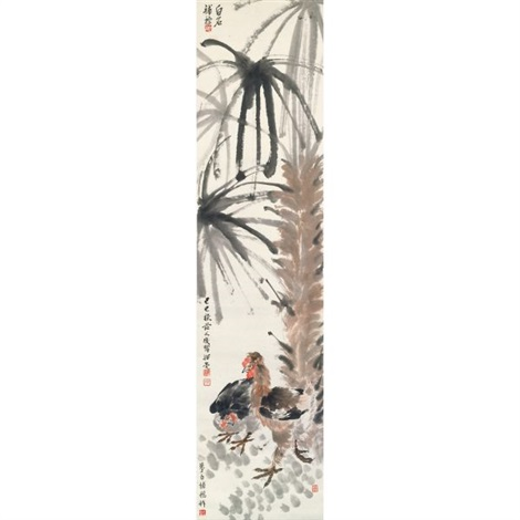 palm tree and roosters by yao hua wang yun and qi baishi