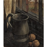 still life of a pewter mug with walnuts and hazelnut on a ledge by luigi lucioni
