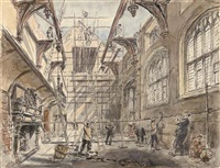 st. paul's cathedral standing through the ruins (+ 2 others; 3 works) by hanslip fletcher