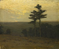 pines at sunset by charles warren eaton