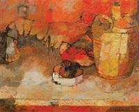 nature morte au homard by bernard cathelin