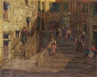 itáliai városrészlet alakokkal by ferenc gaal